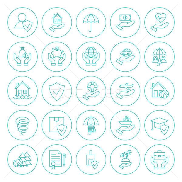 Line Circle Insurance Icons Set Stock photo © Anna_leni