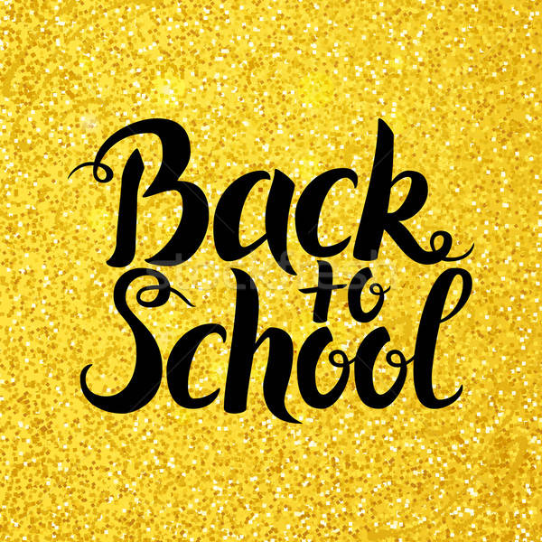 back to school vector lettering over gold glitter stock photo 08