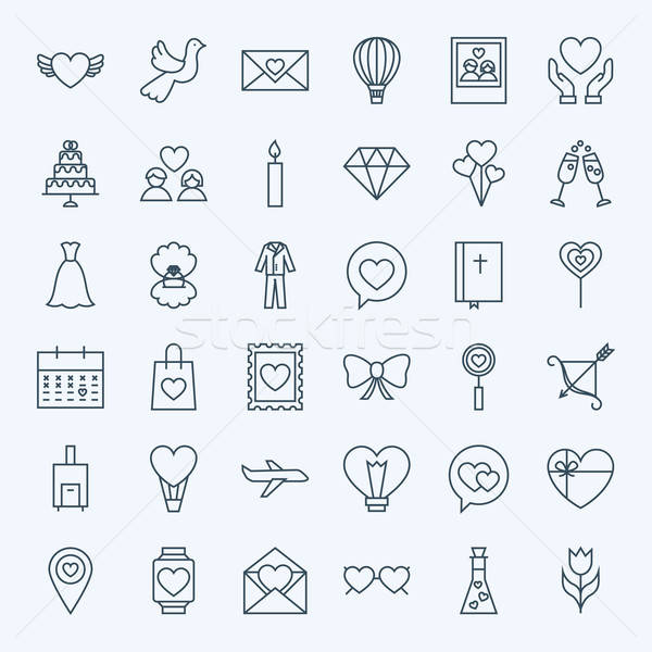 Stockfoto: Lijn · liefde · iconen · vector · collectie · moderne