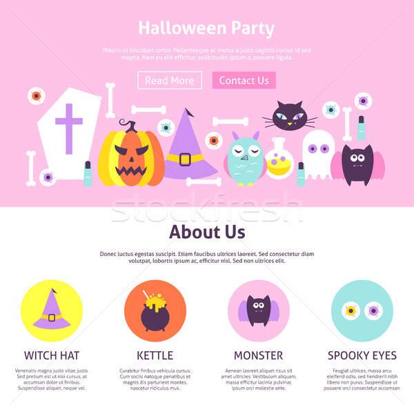 Halloween strony projektowanie stron internetowych stylu stronie banner Zdjęcia stock © Anna_leni
