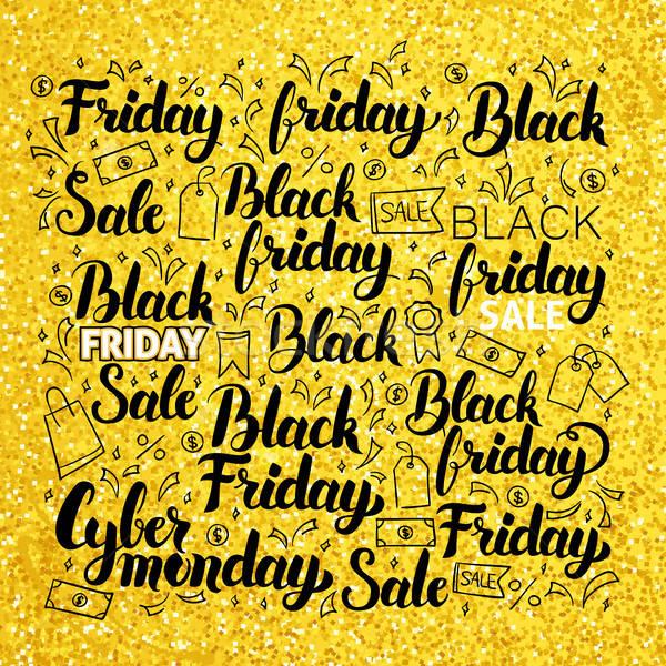 Black friday or dessinés à la main Shopping vente calligraphie Photo stock © Anna_leni