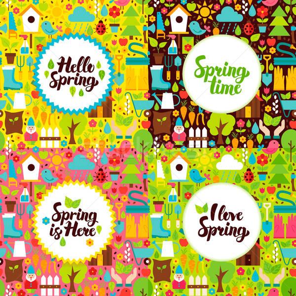 Tavasz kert képeslapok természet plakátok kézzel írott Stock fotó © Anna_leni