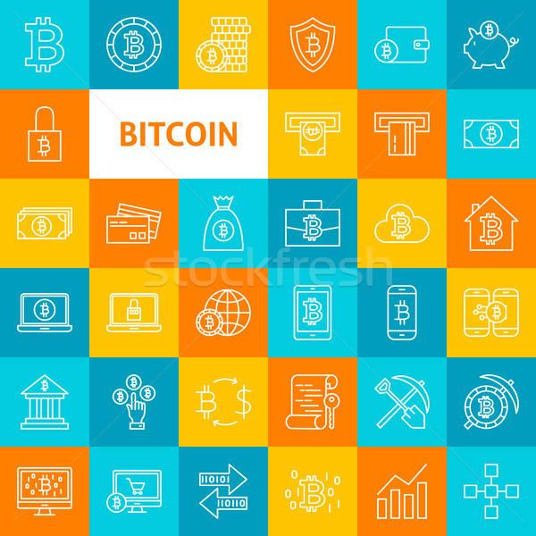 Vektör hat bitcoin simgeler ince Stok fotoğraf © Anna_leni