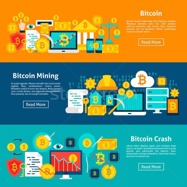 Bitcoin horizontal bannières site tête monnaie Photo stock © Anna_leni