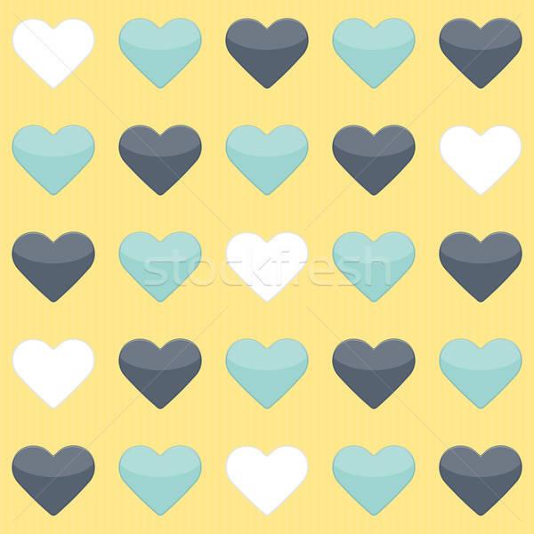 Azul de branco corações amarelo Foto stock © Anna_leni