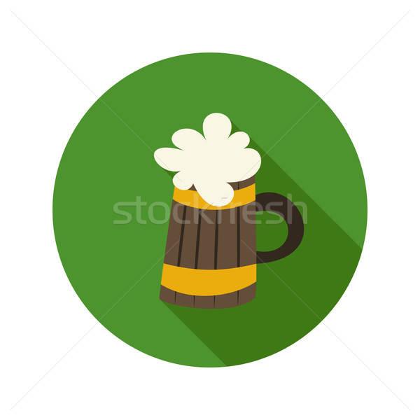 Oktoberfest cerveza taza círculo verde icono Foto stock © Anna_leni