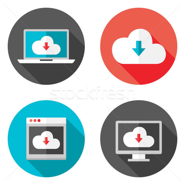 Cloud Services Flat Icons with Shadows Set Stock photo © Anna_leni