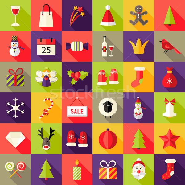 Stock photo: Big Christmas Squared Flat Icons Set 2