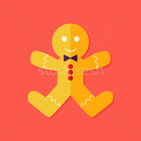 Christmas Gingerbread Man Flat Icon Stock photo © Anna_leni