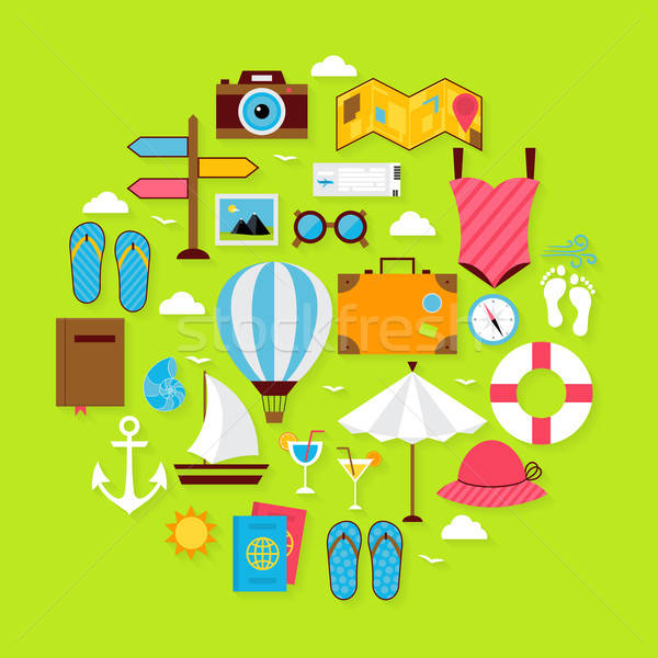 Férias de verão ícones círculo conjunto verão Foto stock © Anna_leni