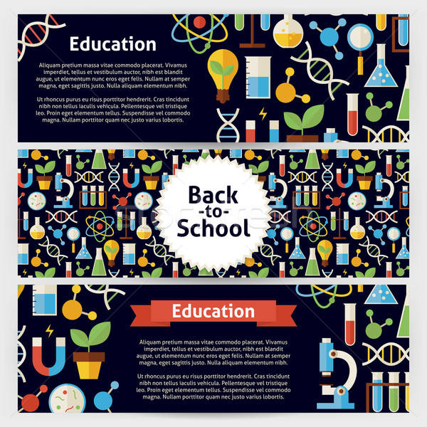 School Science and Education Vector Template Banners Set in Mode Stock photo © Anna_leni