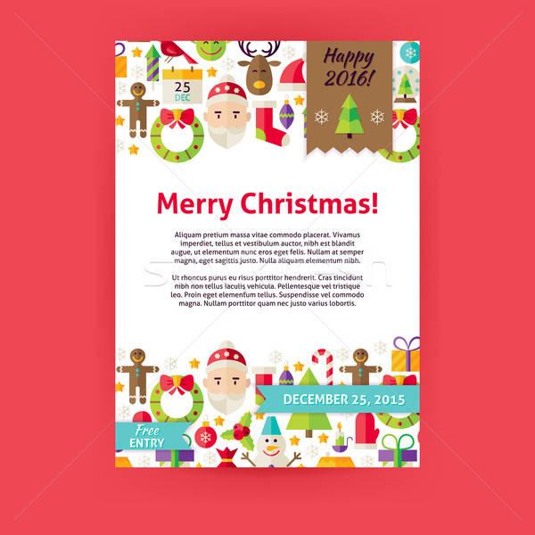 Merry Christmas Holiday Vector Invitation Template Flyer Stock photo © Anna_leni
