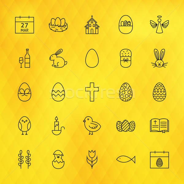 Happy Easter Line Icons Set over Polygonal Background Stock photo © Anna_leni