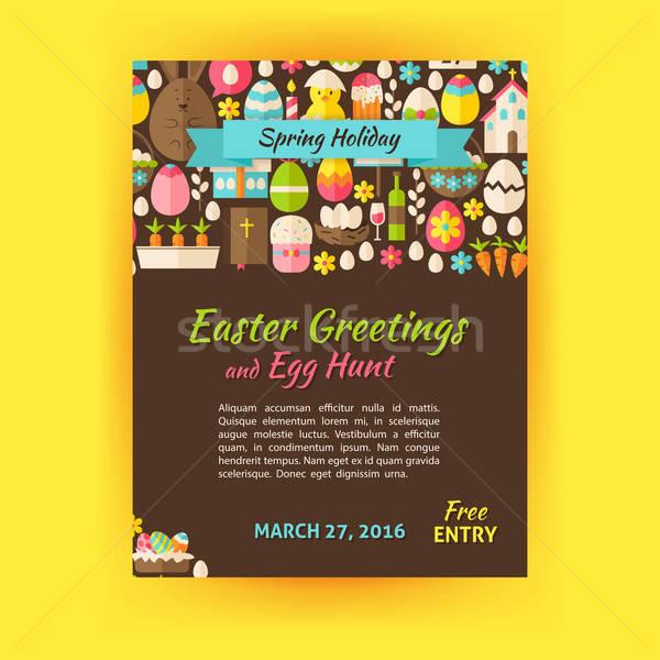 Kellemes húsvétot ünnep vektor sablon poszter stílus Stock fotó © Anna_leni