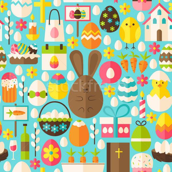 Kellemes húsvétot ünnep vektor kék végtelen minta terv Stock fotó © Anna_leni