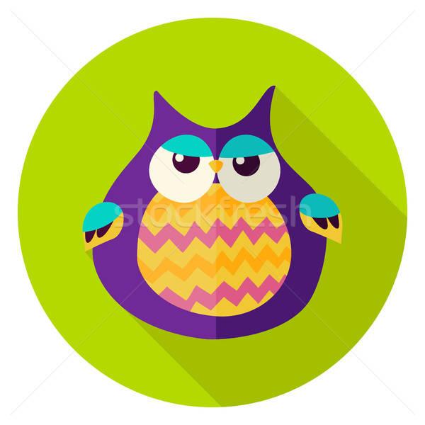 Cute Owl Circle Icon Stock photo © Anna_leni