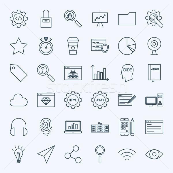 ストックフォト: 行 · ウェブ · 開発 · アイコン · ベクトル · コレクション