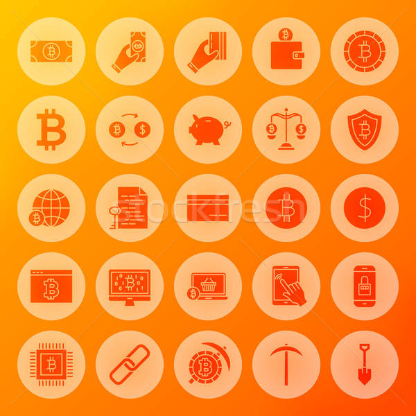 Stock photo: Bitcoin Solid Circle Icons