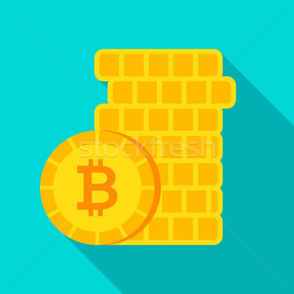 Bitcoin argent icône longtemps ombre affaires Photo stock © Anna_leni