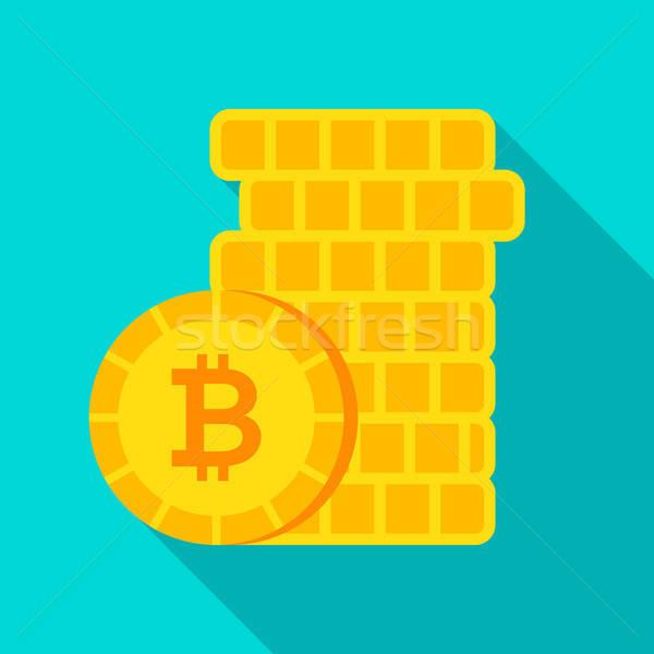 Bitcoin geld icon lang schaduw business Stockfoto © Anna_leni
