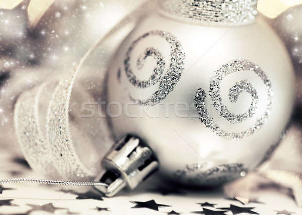 Silver Christmas tree ornament Stock photo © Anna_Om