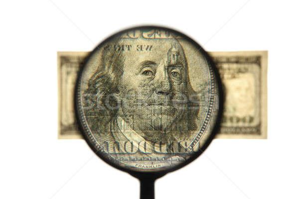 Uno cento dollaro zoom dollari bianco Foto d'archivio © Anna_Om