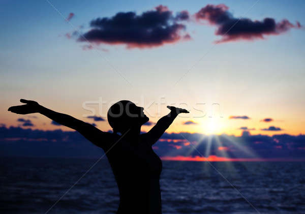 Stok fotoğraf: Kadın · siluet · gün · batımı · gökyüzü · karanlık · siyah