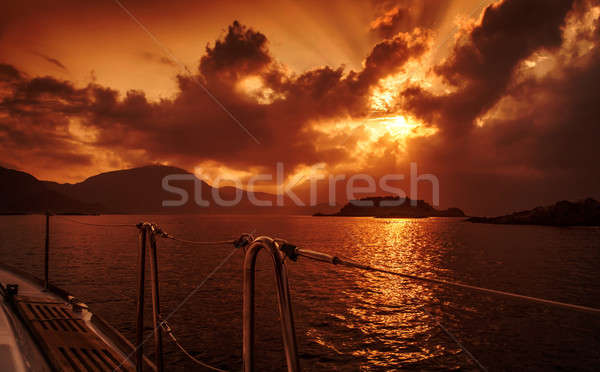 Yacht deck on sunset Stock photo © Anna_Om