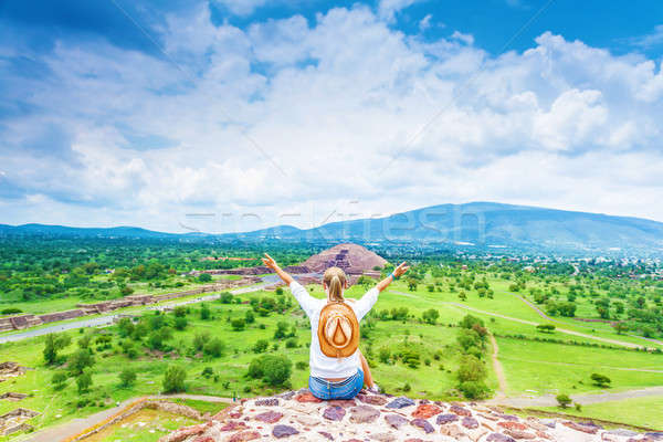 Woman on the top of mountains Stock photo © Anna_Om