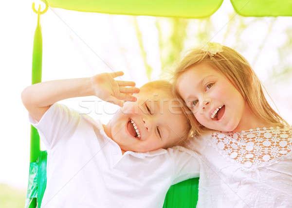 прелестный детей Swing портрет Сток-фото © Anna_Om
