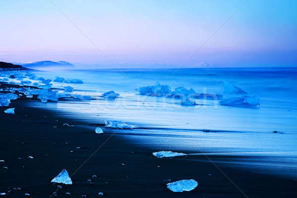 Iceberg noir sable plage Islande Photo stock © Anna_Om