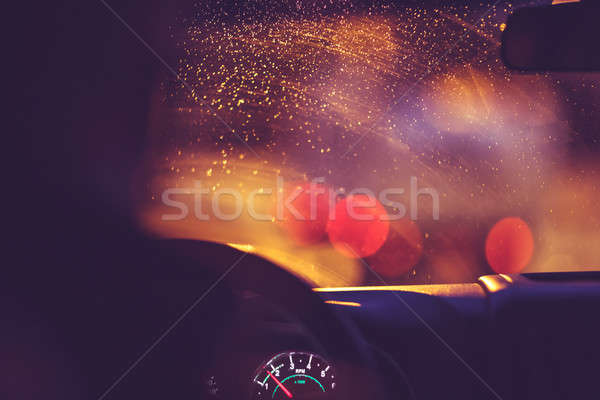 Carretera lluvioso noche lluvia gotas parabrisas Foto stock © Anna_Om