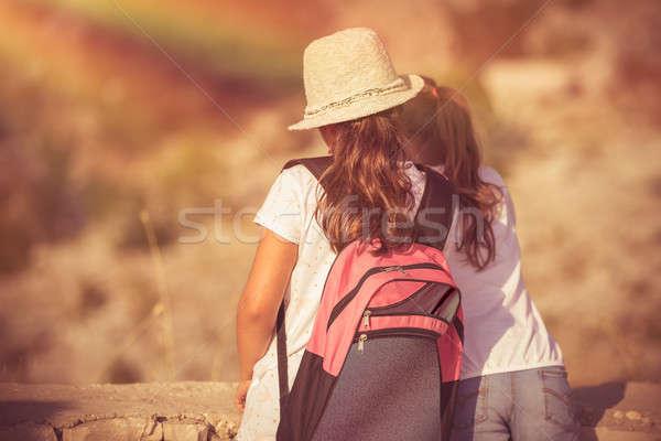 Legjobb barátok nyári tábor kettő kislányok élvezi hegyek Stock fotó © Anna_Om