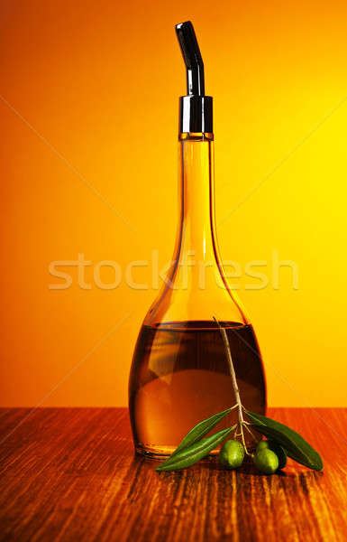 Homemade healthy olive oil with green olives Stock photo © Anna_Om
