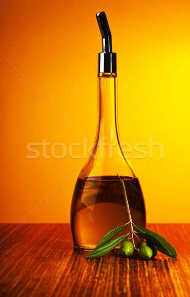 ストックフォト: 自家製 · 健康 · オリーブオイル · 緑 · オリーブ · 新鮮な