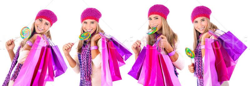 Foto d'archivio: Felice · inverno · shopping · collage · pretty · woman · cute