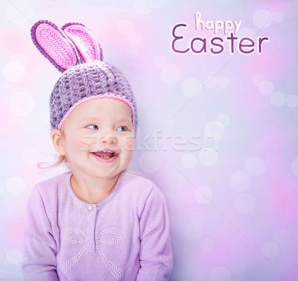 Cute baby wearing Easter bunny costume Stock photo © Anna_Om
