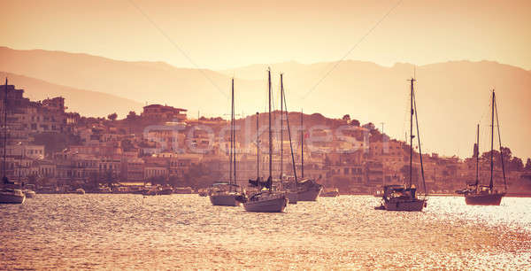 Luxury sail boats in sunset Stock photo © Anna_Om