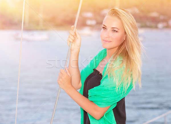 élvezi nyári vakáció portré csinos álomszerű szőke Stock fotó © Anna_Om
