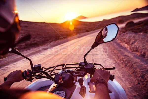 Motocicleta bicicleta equitação Grécia ativo verão Foto stock © Anna_Om