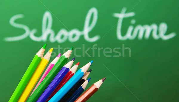 Zurück in die Schule grünen Tafel Handschrift Set farbenreich Stock foto © Anna_Om