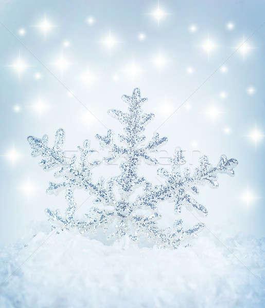 Hópehely gyönyörű kék tél ünnep háttér Stock fotó © Anna_Om