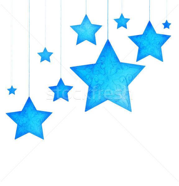 Kék csillagok karácsonyfa díszek keret ünnep Stock fotó © Anna_Om