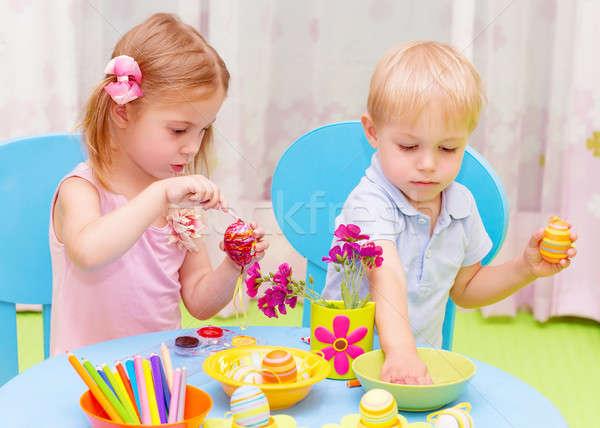 Children paint Easter eggs Stock photo © Anna_Om