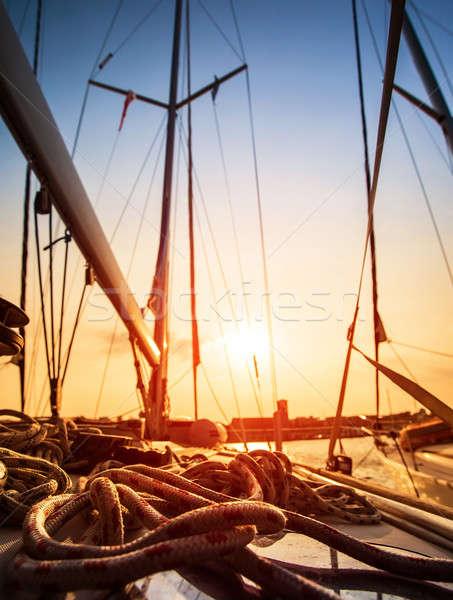 ヨット 日没 光 帆 ヨット 詳細 ストックフォト © Anna_Om