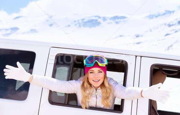 Happy woman enjoy winter holidays Stock photo © Anna_Om