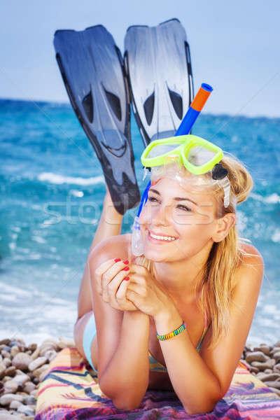 Happy woman on the beach Stock photo © Anna_Om