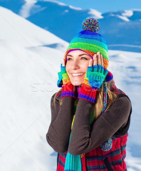 Stock fotó: Boldog · nő · portré · portré · örömteli · nő · szórakozás