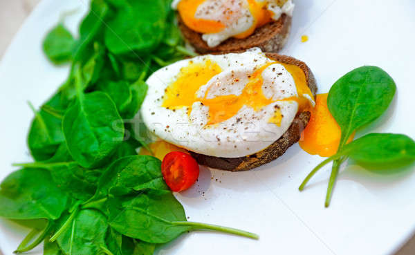 Сток-фото: яйца · сэндвич · шпинат · белый