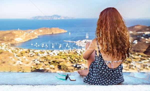 旅人 女性 海 表示 背面図 ストックフォト © Anna_Om